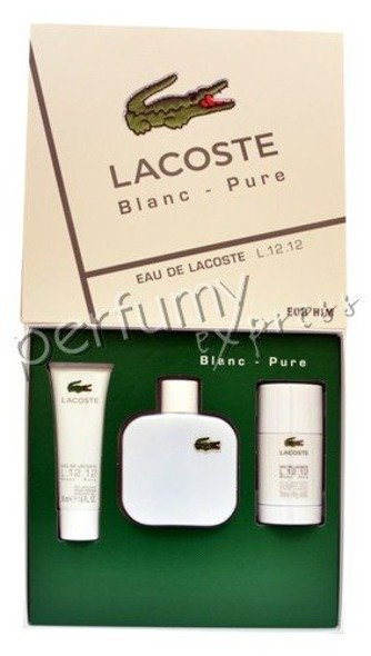 Lacoste L.12.12 Blanc/White komplet (100 ml EDT & 75 ml DEO STICK & 50 ml SG)