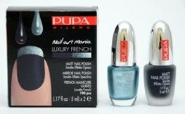Pupa Nail Art Mania Luxury French zestaw do manicure 001 Matt Blue & Mirror Sky Blue 2 x 5 ml
