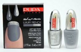 Pupa Nail Art Mania Luxury French zestaw do manicure 004 Matt Grey & Mirror Silver 2 x 5 ml